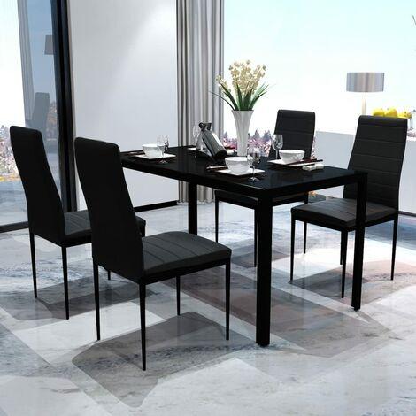 "main image of ""Pack 4 sillas de comedor sillas para salón de diseño con respaldo acolchado para casa| Negro"""
