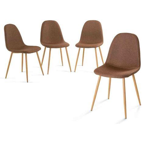 Pack 4 sillas NEDER   Home Heavenly®- Pack de Cuatro sillas Comedor, solón Neder, sillas nórdicas, Vintage tapizadas en Tela marròn y Patas Color Robl - Neder - marron