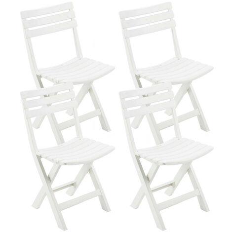 "main image of ""Pack 4 Sillas Plegables de Resina Birki Blanca 44x41x78cm Progarden White"""