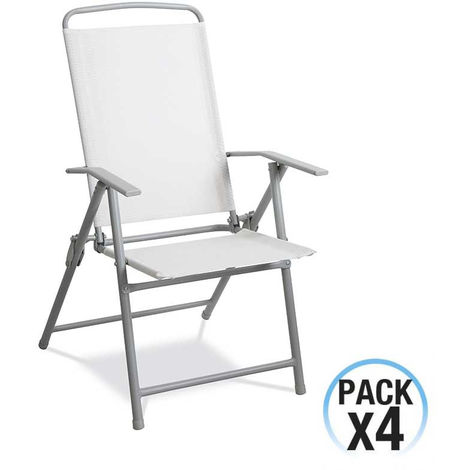 Blanco Gris Estructura Acero 4 Pack Plegables Sillas Textil R35ALj4q