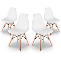 Pack 4 Sillas retro color Blanco de diseño nordico- McHaus