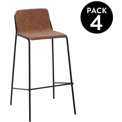 Pack 4 taburetes altos Bristol - Camel Cuir - Negro