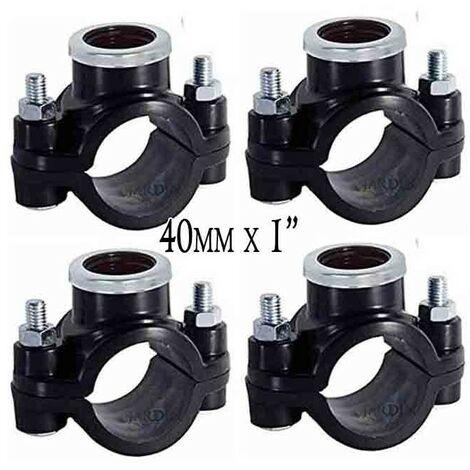 "Pack 4 x COLLARIN DE RIEGO 40MM x 1"". Utilizado para la instalación de elementos de riego como aspersores, difusores o goteo."