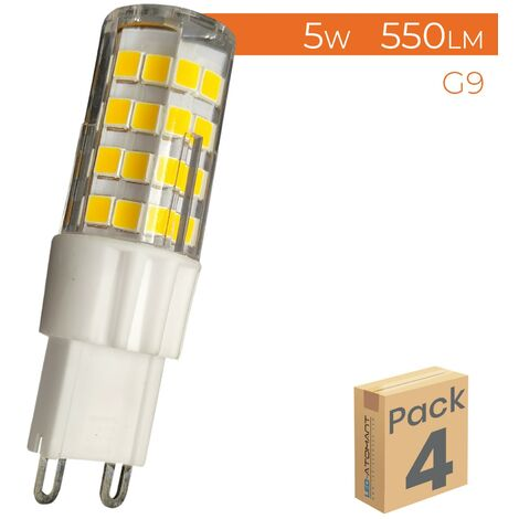 Pack 4x Bombilla LED G9 5W 550LM Regulable A++ | Blanco Cálido 3000K - Pack 4 Uds. - Blanco Cálido 3000K