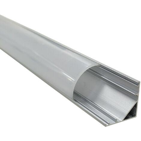 Pack 4x Perfil de Aluminio 1M 45º para tira LED. Tapones y clips incluidos