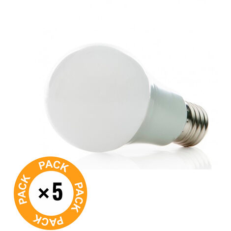Pack 5 Bombilla LED E27 Esférica Aluminio/Pc 7W 630Lm 30.000H