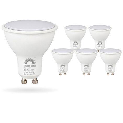 Pack 5 Bombillas LED Bajo Consumo BERLIN GU10 7W con 595 Lm 3000K Blanco Cálido