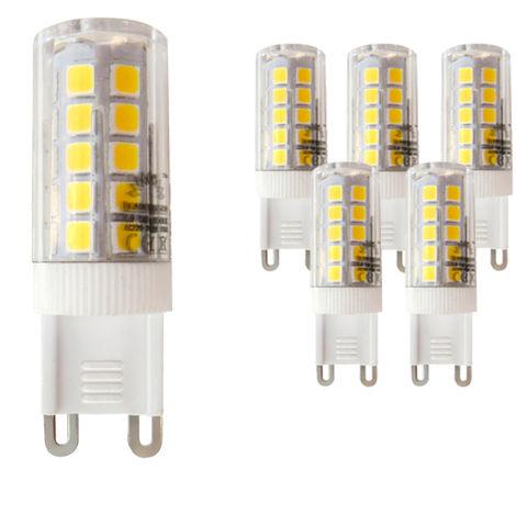 Pack 5 Bombillas LED Bajo Consumo MOSCU G9 (Tubular Cerámica) 5W con 475 Lm. 3000K Blanco Cálido