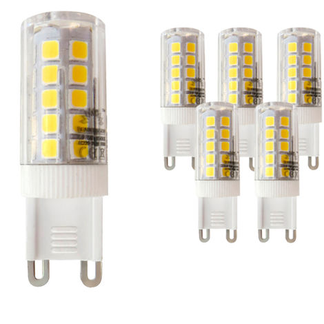 Pack 5 Bombillas LED Bajo Consumo MOSCU G9 (Tubular Cerámica) 5W con 475 Lm.