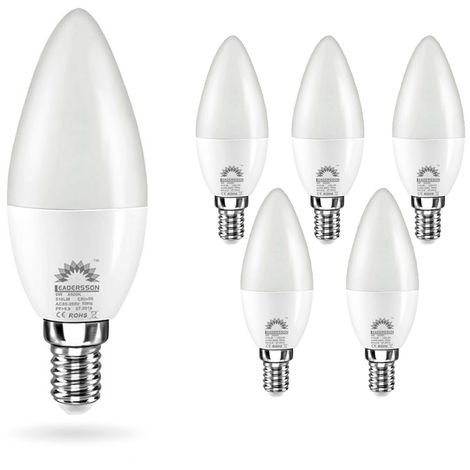 Pack 5 Bombillas LED E14 Bajo Consumo CHILE C37 6W con 510 Lm. 4500K Blanco Neutro