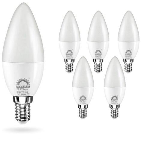 Pack 5 Bombillas LED E14 Bajo Consumo CHILE C37 6W con 510 Lm. 6000K Blanco Frío