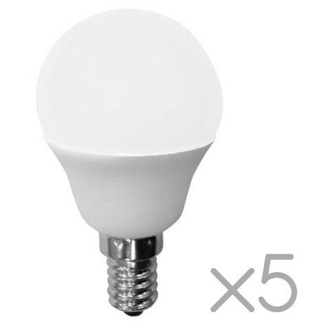 Pack 5 Bombillas LED E14 Esféricas 6W (luz neutra)