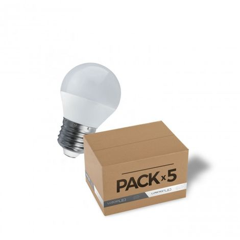 Pack 5 bombillas LED E27 4W 4000K A45