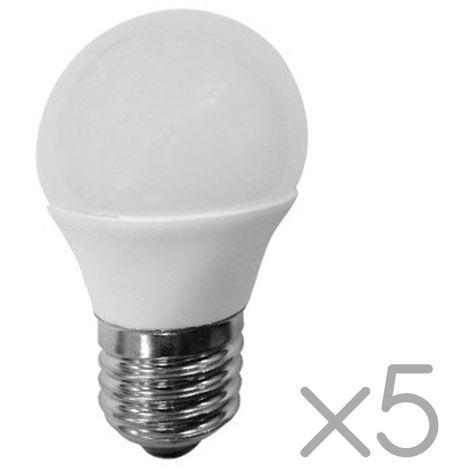 Pack 5 Bombillas LED E27 Esféricas 6W (luz neutra)