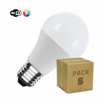 Pack 5 Bombillas LED Smart WiFi E27 A60 Regulable RGBW 10W RGBW