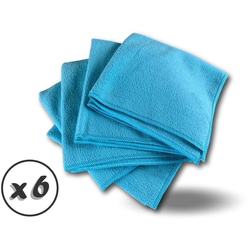 Pack 5 chiffons microfibre | Lavants dépoussièrants | Bleu | Super absorbants - Quantité x 6 - Pack 5 chiffons - Bleu