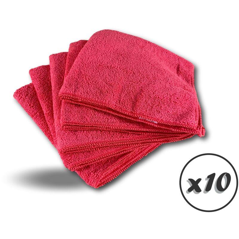 Pack 5 chiffons microfibre | Lavants dépoussièrants | Bleu | Super absorbants - Quantité x10 - Pack 5 chiffons - Rouge