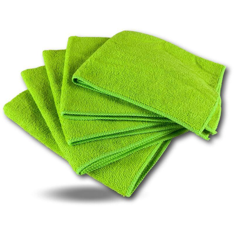 Pack 5 chiffons microfibre | Lavants dépoussièrants | Bleu | Super absorbants - Quantité x 1 - Pack 5 chiffons - Vert