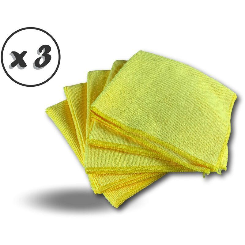 Pack 5 chiffons microfibre | Lavants dépoussièrants | Bleu | Super absorbants - Quantité x 3 - Pack 5 chiffons - Jaune