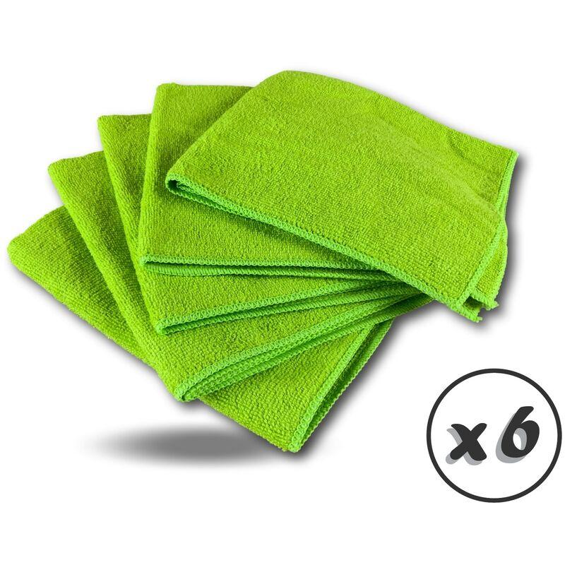 Pack 5 chiffons microfibre | Lavants dépoussièrants | Bleu | Super absorbants - Quantité x 6 - Pack 5 chiffons - Vert