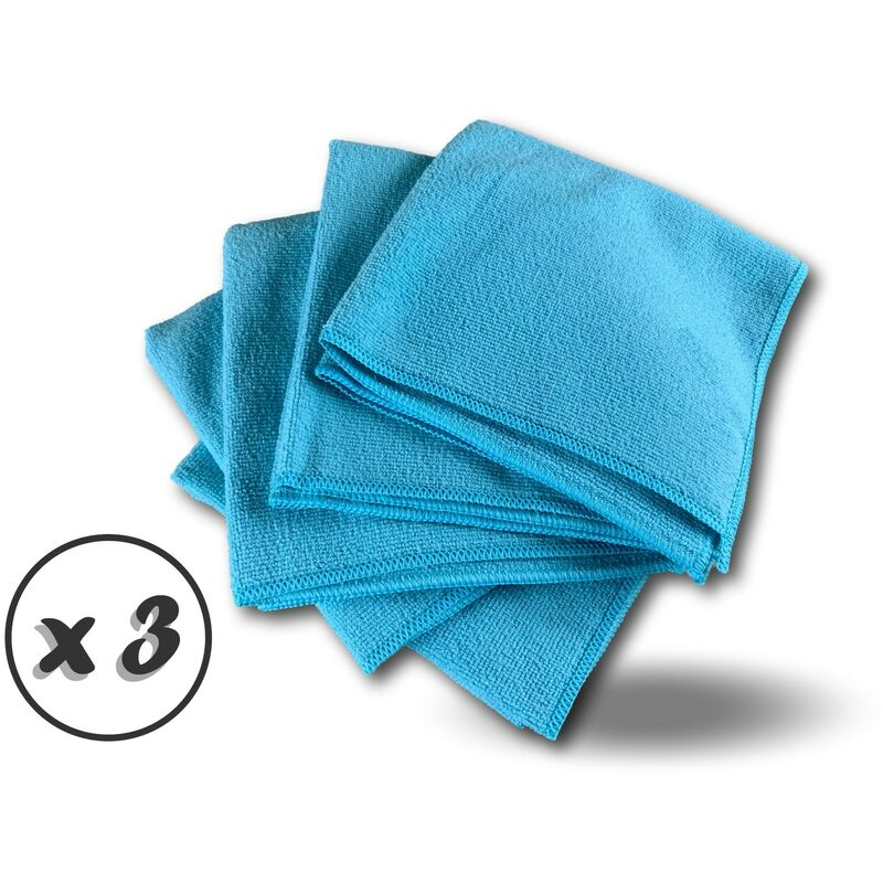 Pack 5 chiffons microfibre | Lavants dépoussièrants | Bleu | Super absorbants - Quantité x 3 - Pack 5 chiffons - Bleu