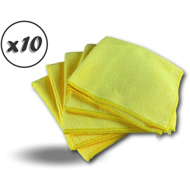 Pack 5 chiffons microfibre | Lavants dépoussièrants | Bleu | Super absorbants - Quantité x10 - Pack 5 chiffons - Jaune
