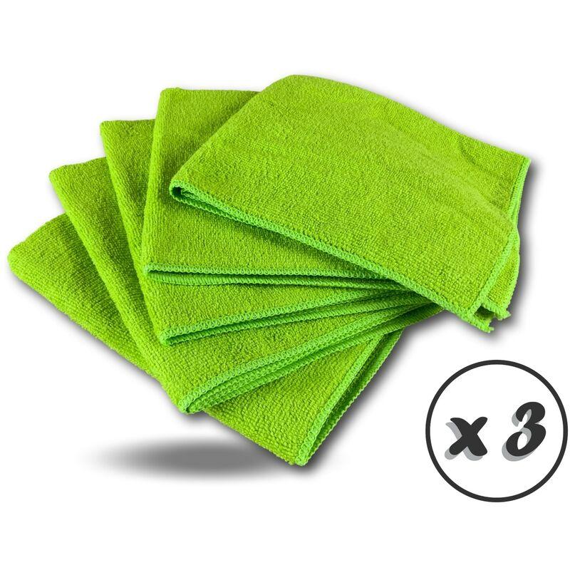 Pack 5 chiffons microfibre | Lavants dépoussièrants | Bleu | Super absorbants - Quantité x 3 - Pack 5 chiffons - Vert