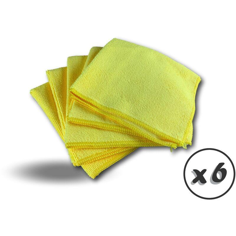 Pack 5 chiffons microfibre | Lavants dépoussièrants | Bleu | Super absorbants - Quantité x 6 - Pack 5 chiffons - Jaune