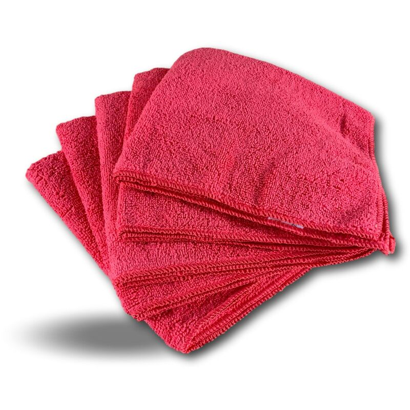 Pack 5 chiffons microfibre | Lavants dépoussièrants | Bleu | Super absorbants - Quantité x 1 - Pack 5 chiffons - Rouge