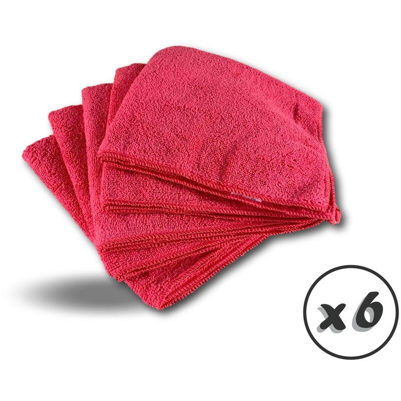 Pack 5 chiffons microfibre | Lavants dépoussièrants | Bleu | Super absorbants - Quantité x 6 - Pack 5 chiffons - Rouge