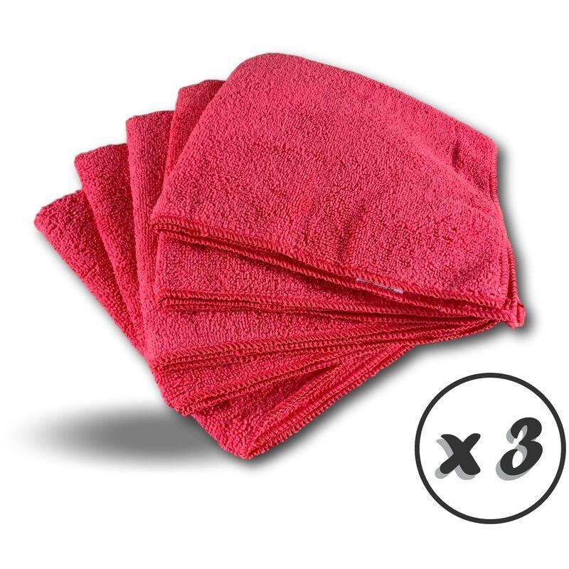 Pack 5 chiffons microfibre | Lavants dépoussièrants | Bleu | Super absorbants - Quantité x 3 - Pack 5 chiffons - Rouge