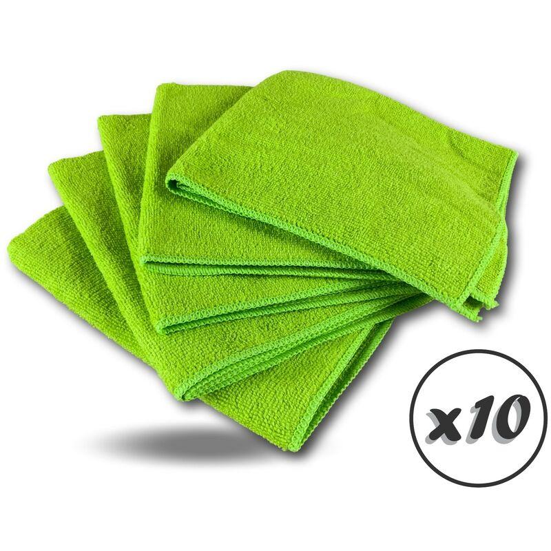 Pack 5 chiffons microfibre | Lavants dépoussièrants | Bleu | Super absorbants - Quantité x10 - Pack 5 chiffons - Vert