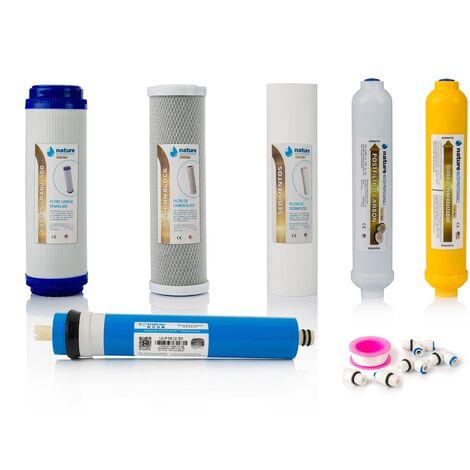Pack 5 Filtros Osmosis Inversa y membrana vontron