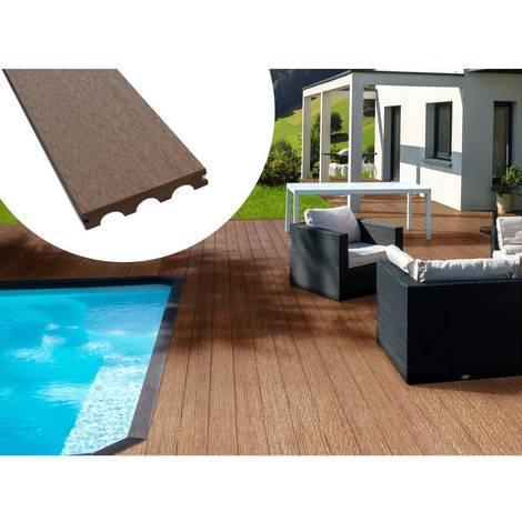 Pack 5 m² - Lames de terrasse composite pleines - Marron