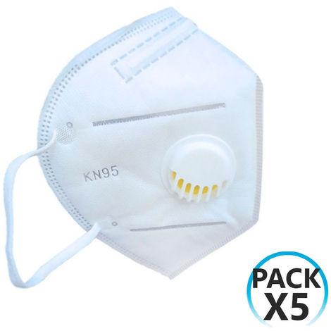 Pack 5 Mascarillas EPI FFP2 No Reutilizables KN95 con Válvula Blanco O91
