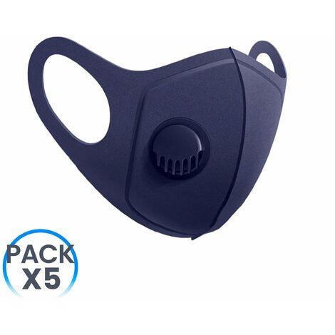 Pack 5 Mascarillas Reutilizables con Válvula Azul Marino O91