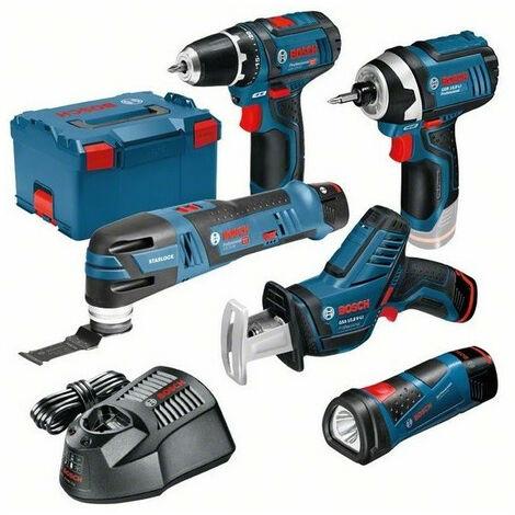 Pack 5 outils sans-fil 12V GSA + GSR + GOP + GDR + GLI + 3 batt 2Ah en L-boxx 0615990K11 BOSCH