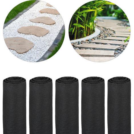 Pack 5 Rollos de Malla Antihierbas 17 g/m² Permeable y Resistente a los Rayos UV, Polipropileno, Negro, 75 m