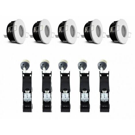 PACK 5 x Support de spot bbc Rond Etanche Blanc Ø82 x 59 mm IP65 + Douilles Automatiques Céramique GU10