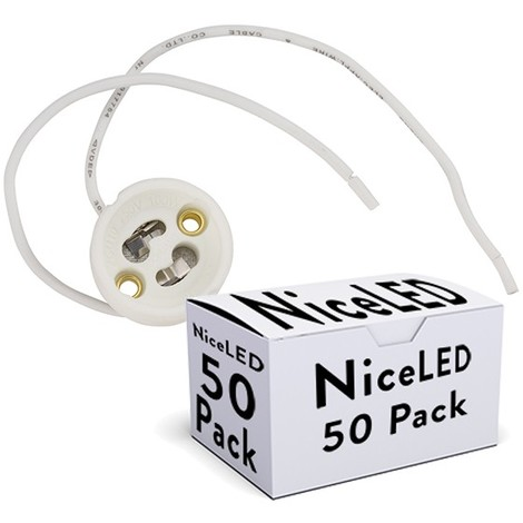 Pack 50 Portalámparas Cerámico GU10 Cable 160Mm (KD-PORTALGU10-PK50-AP)