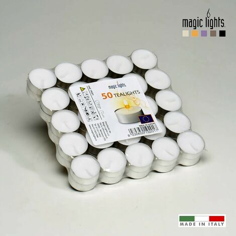 Pack 50 velas blancas 12gr. magic lights