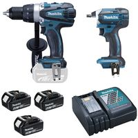 PACK 5Ah PERCEUSE VISSEUSE 91NM + VISSEUSE À CHOC 165NM DLX2144TJ1 MAKITA + 3 BATTERIES 5AH (NOUVEAU DLX2015MJX)