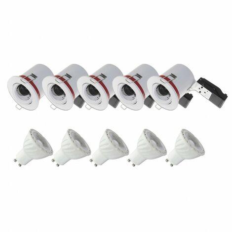Pack 5x Support de Spot LED inclinable + Ampoule LED GU10 6W 4000°K - Blanc jour
