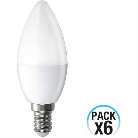 Pack 6 Bombillas LED Vela E14 6W Equi.40W 470lm 15000H