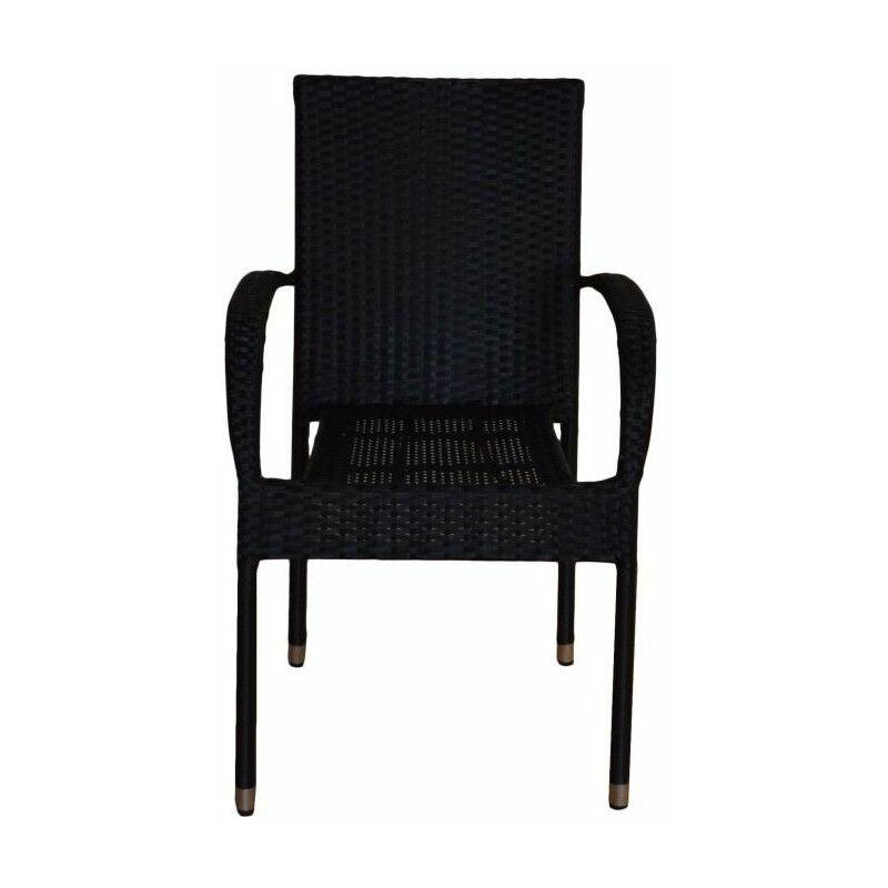 pack 6 chaises en rotin noir