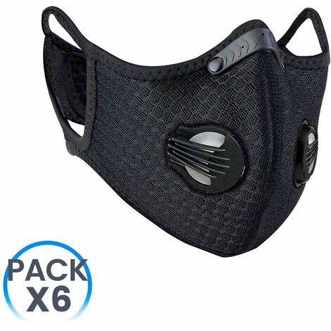 Pack 6 Mascarillas Reutilizables con Doble Válvula Negro O91