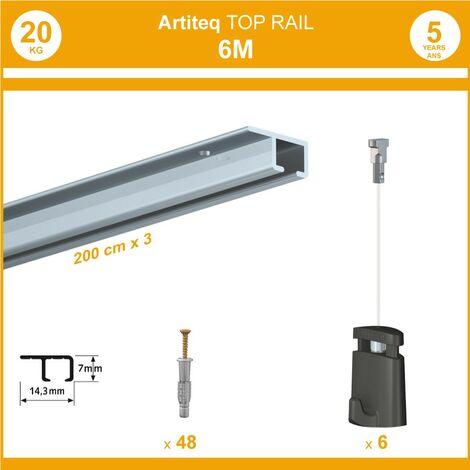 Pack 6 mètres cimaise Top Rail couleur Aluminium anodisé - Cimaise rail plafond pour suspension cadres et tableaux - 6 câbles Micro Perlon 150 cm