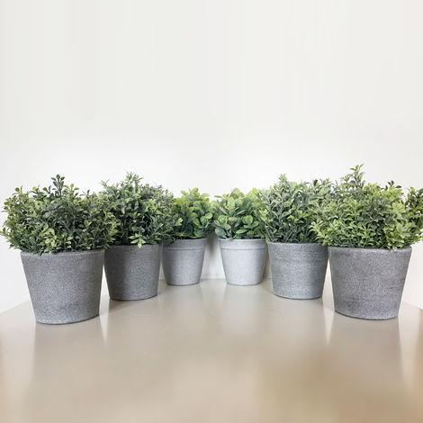 Pack 6 plantas surtidas artificiales de 18 cm con maceta en color gris