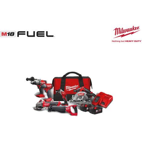 Pack 6 Produkte MILWAUKEE FUEL M18 FPP6A-502B - 2 Batterien 5,0 Ah - 1 Ladegerät M12-18FC 4933451243