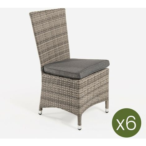 Pack 6 sillas de exterior con faldón | Tamaño: 48x58x95 cm | Aluminio y rattán sintético color gris | Cojín antracita | Portes gratis - Gris-plano